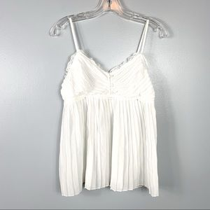 San Joy White Pleated Top Size L